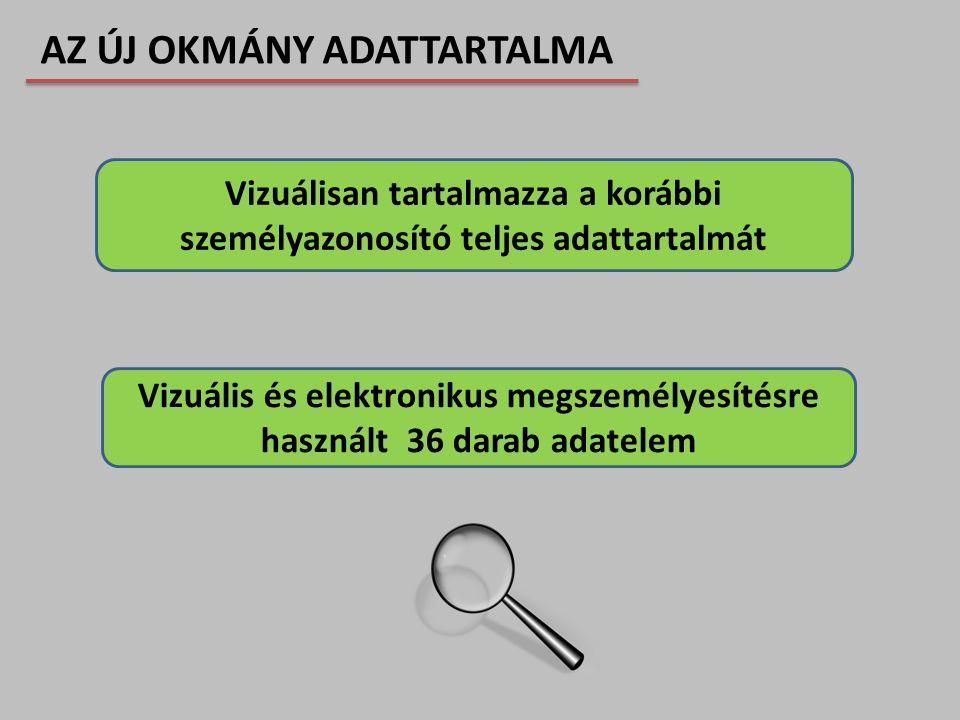 Vizuálisan tartalmazza a korábbi személyazonosító teljes adattartalmát Vizuális és elektronikus megszemélyesítésre használt 36 darab adatelem AZ ÚJ OK