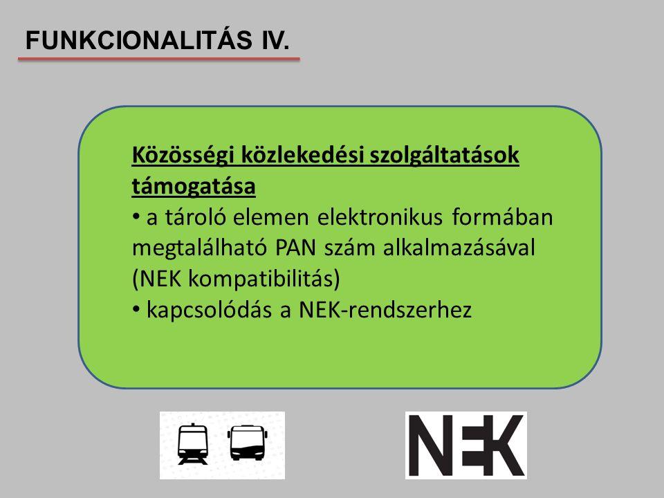 Közösségi közlekedési szolgáltatások támogatása a tároló elemen elektronikus formában megtalálható PAN szám alkalmazásával (NEK kompatibilitás) kapcso