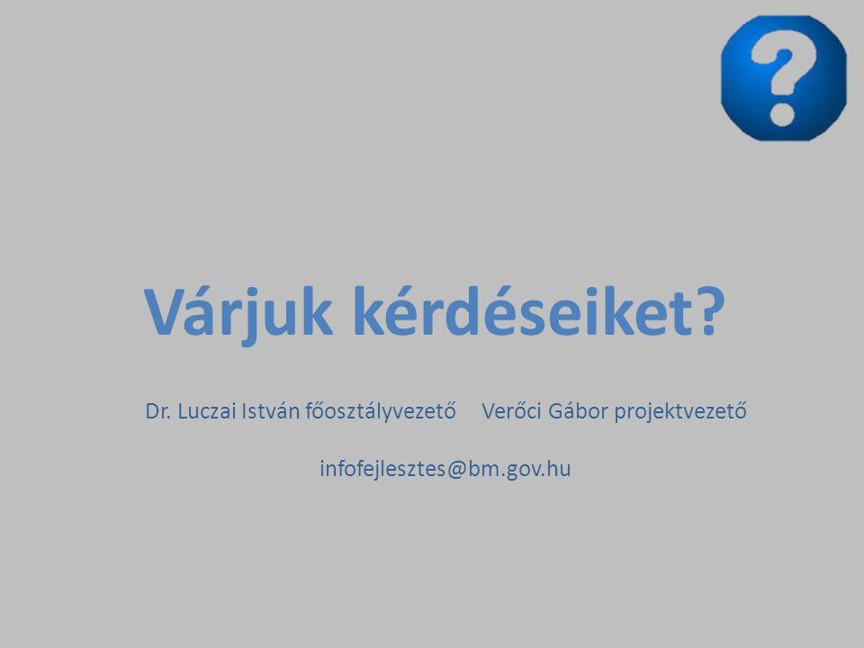 Várjuk kérdéseiket? Dr. Luczai István főosztályvezető Verőci Gábor projektvezető infofejlesztes@bm.gov.hu