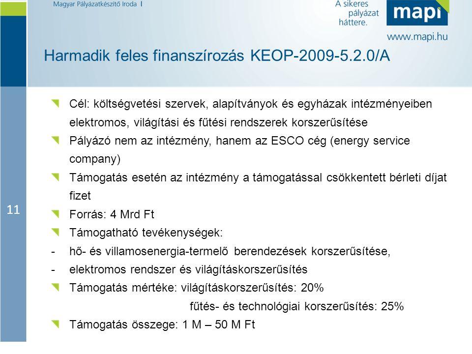 11 Harmadik feles finanszírozás KEOP-2009-5.2.0/A Cél: költségvetési szervek, alapítványok és egyházak intézményeiben elektromos, világítási és fűtési