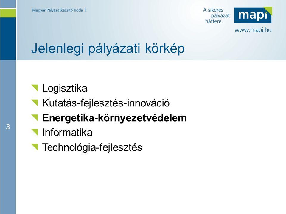 3 Jelenlegi pályázati körkép Logisztika Kutatás-fejlesztés-innováció Energetika-környezetvédelem Informatika Technológia-fejlesztés