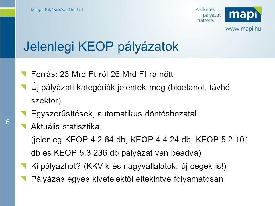 6 Jelenlegi KEOP pályázatok Forrás: 23 Mrd Ft-ról 26 Mrd Ft-ra nőtt Új pályázati kategóriák jelentek meg (bioetanol, távhő szektor) Egyszerűsítések, a