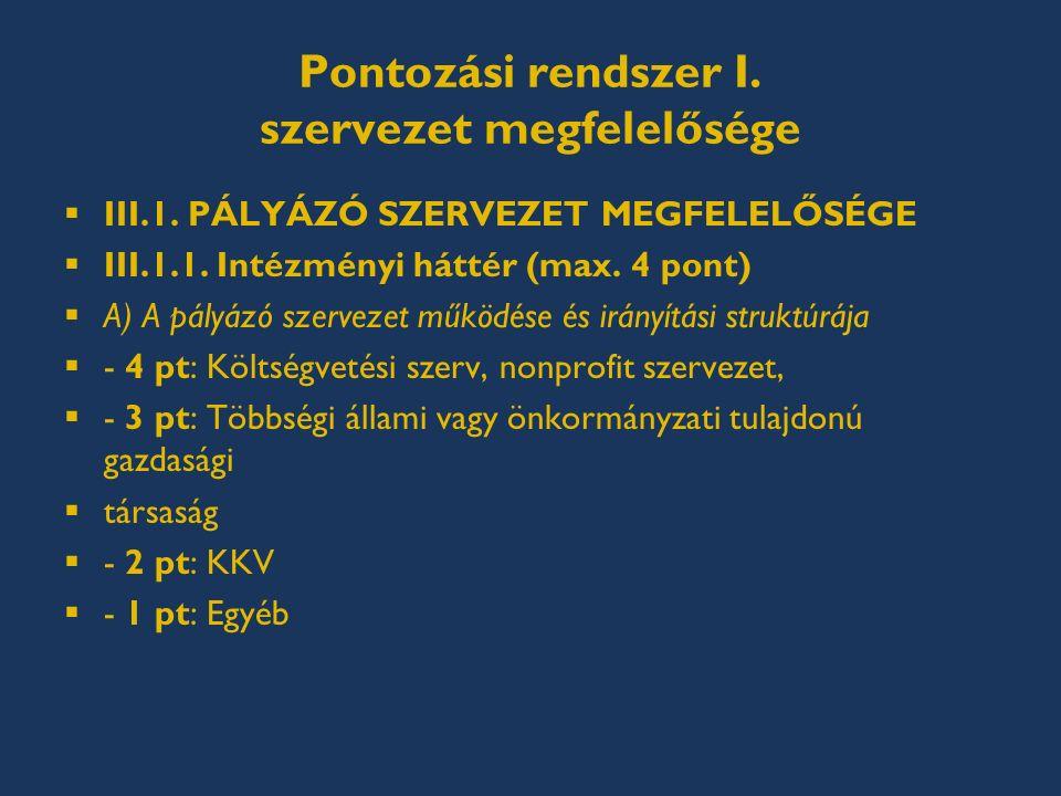 Pontozási rendszer I. szervezet megfelelősége  III.1.