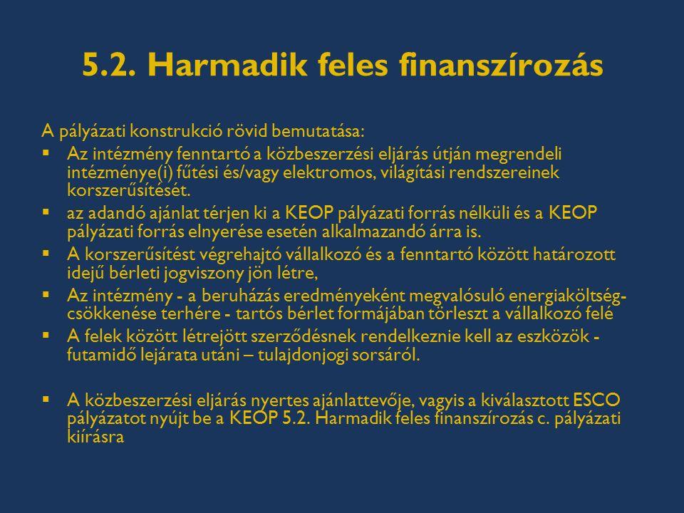 5.2. Harmadik feles finanszírozás A pályázati konstrukció rövid bemutatása:  Az intézmény fenntartó a közbeszerzési eljárás útján megrendeli intézmén