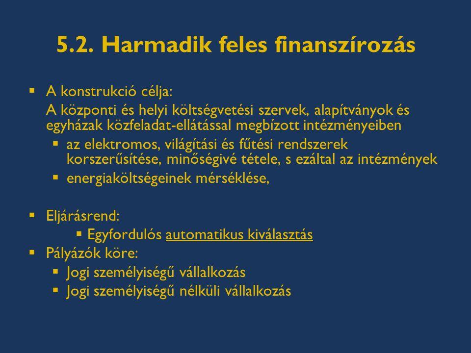 5.2. Harmadik feles finanszírozás  A konstrukció célja: A központi és helyi költségvetési szervek, alapítványok és egyházak közfeladat-ellátással meg