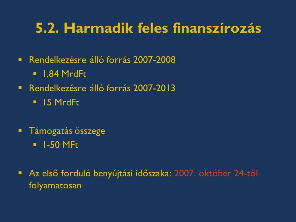 5.2. Harmadik feles finanszírozás  Rendelkezésre álló forrás 2007-2008  1,84 MrdFt  Rendelkezésre álló forrás 2007-2013  15 MrdFt  Támogatás össz