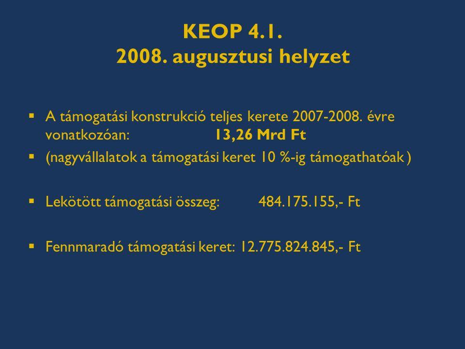 KEOP 4.1. 2008. augusztusi helyzet  A támogatási konstrukció teljes kerete 2007-2008.