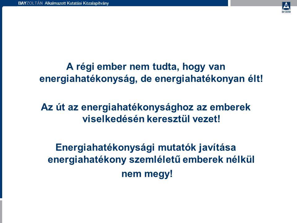 BAYZOLTÁN Alkalmazott Kutatási Közalapítvány A régi ember nem tudta, hogy van energiahatékonyság, de energiahatékonyan élt! Az út az energiahatékonysá