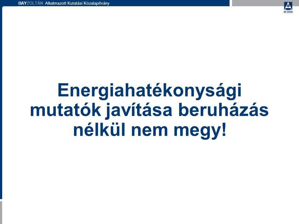 BAYZOLTÁN Alkalmazott Kutatási Közalapítvány Energetikai felülvizsgálatok: Jelenlegi helyzet bemutatása Energiamérleg, elfogadható fogyasztások és költségek meghatározása Az energiafogyasztás minõsítése A beavatkozási lehetõségek vizsgálata.