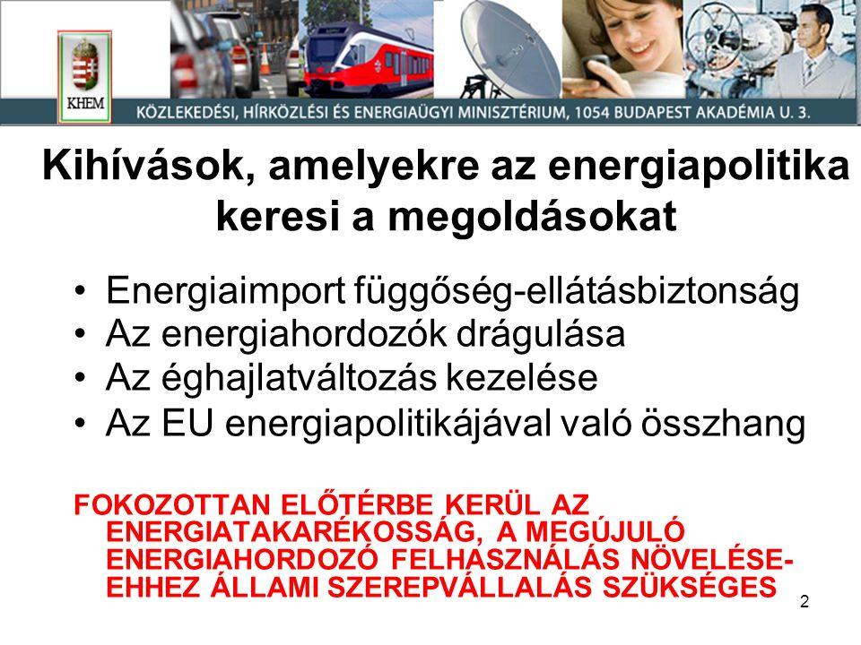 2 Kihívások, amelyekre az energiapolitika keresi a megoldásokat Energiaimport függőség-ellátásbiztonság Az energiahordozók drágulása Az éghajlatváltozás kezelése Az EU energiapolitikájával való összhang FOKOZOTTAN ELŐTÉRBE KERÜL AZ ENERGIATAKARÉKOSSÁG, A MEGÚJULÓ ENERGIAHORDOZÓ FELHASZNÁLÁS NÖVELÉSE- EHHEZ ÁLLAMI SZEREPVÁLLALÁS SZÜKSÉGES