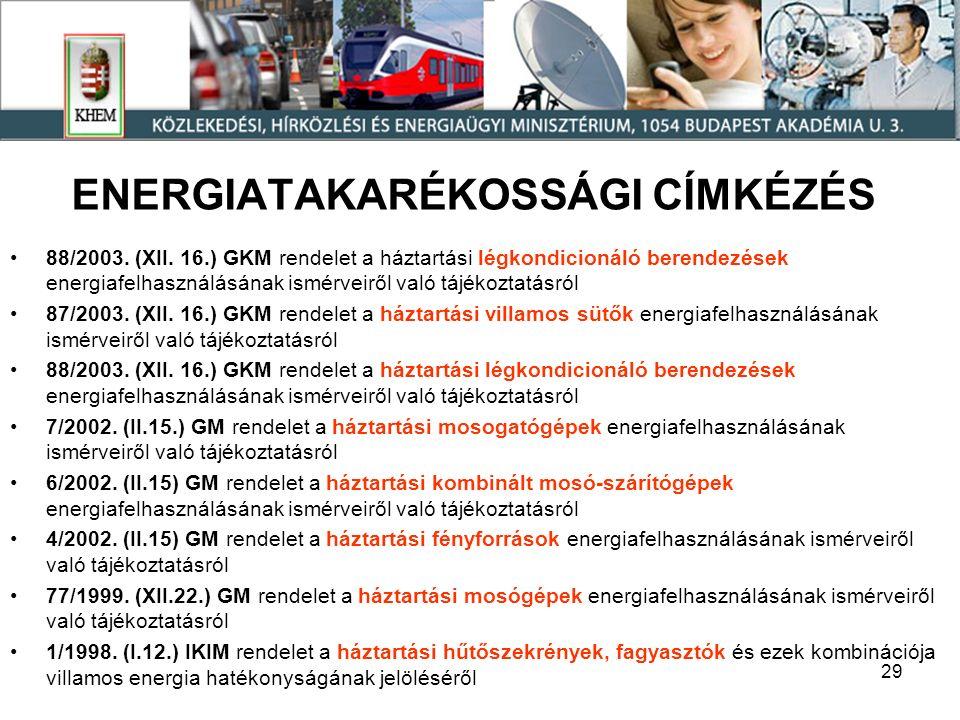 29 ENERGIATAKARÉKOSSÁGI CÍMKÉZÉS 88/2003. (XII.