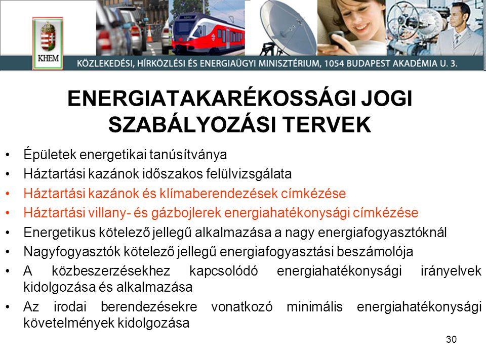 30 ENERGIATAKARÉKOSSÁGI JOGI SZABÁLYOZÁSI TERVEK Épületek energetikai tanúsítványa Háztartási kazánok időszakos felülvizsgálata Háztartási kazánok és klímaberendezések címkézése Háztartási villany- és gázbojlerek energiahatékonysági címkézése Energetikus kötelező jellegű alkalmazása a nagy energiafogyasztóknál Nagyfogyasztók kötelező jellegű energiafogyasztási beszámolója A közbeszerzésekhez kapcsolódó energiahatékonysági irányelvek kidolgozása és alkalmazása Az irodai berendezésekre vonatkozó minimális energiahatékonysági követelmények kidolgozása