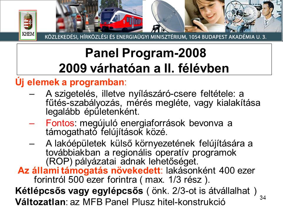 34 Panel Program-2008 2009 várhatóan a II.