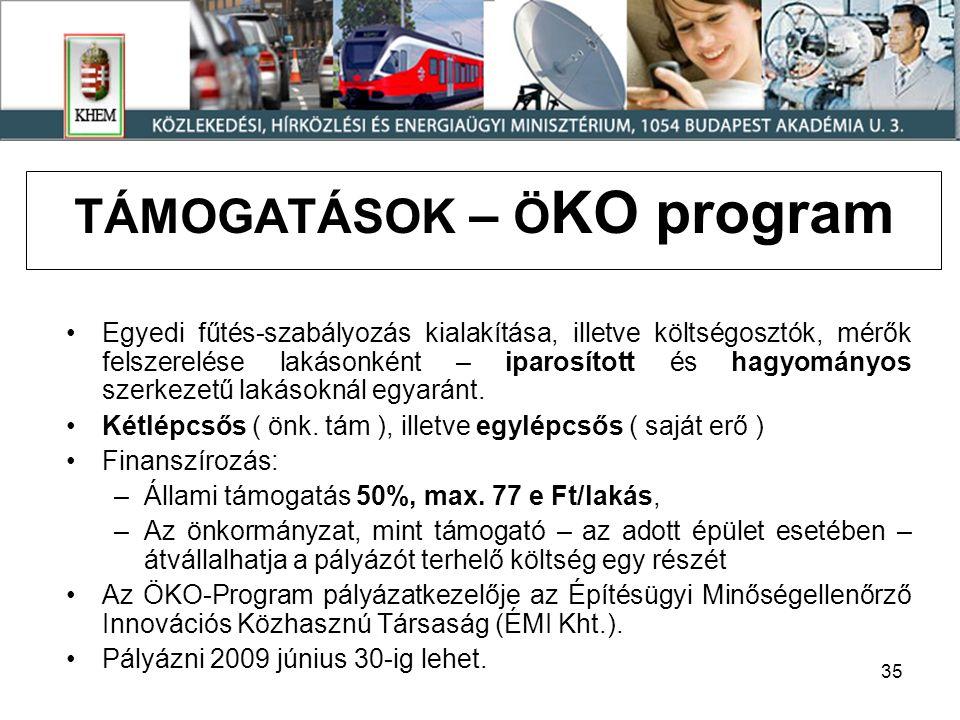 35 TÁMOGATÁSOK – Ö KO program Egyedi fűtés-szabályozás kialakítása, illetve költségosztók, mérők felszerelése lakásonként – iparosított és hagyományos szerkezetű lakásoknál egyaránt.