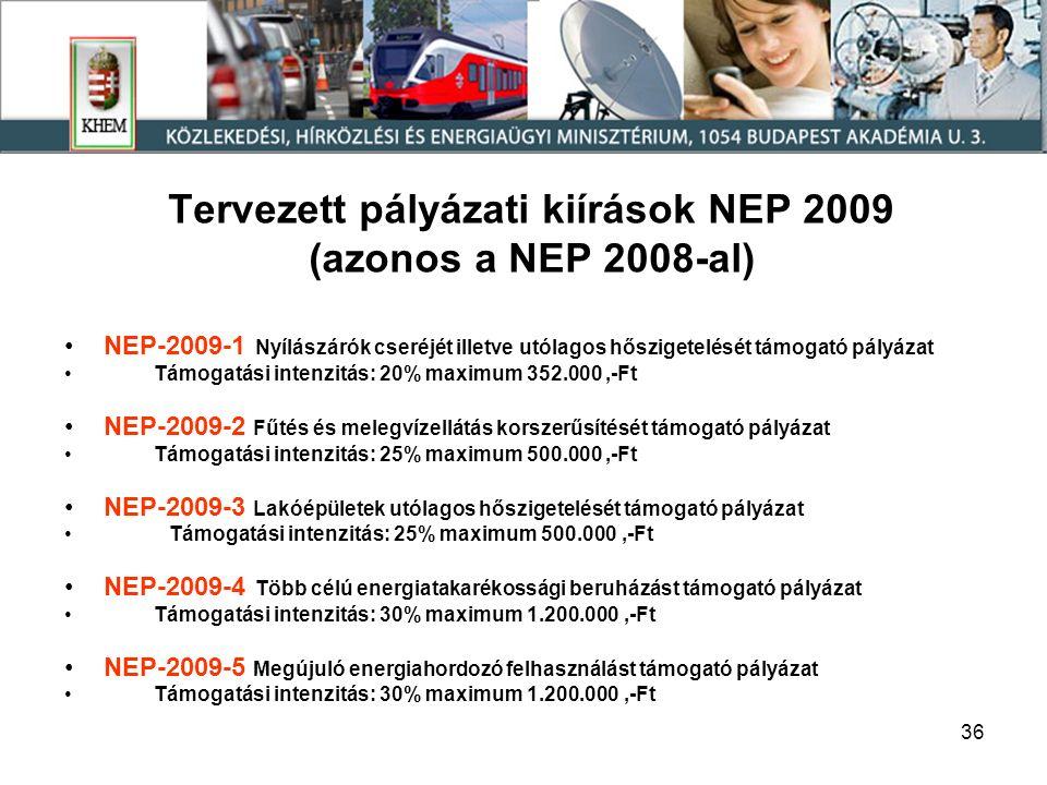 36 Tervezett pályázati kiírások NEP 2009 (azonos a NEP 2008-al) NEP-2009-1 Nyílászárók cseréjét illetve utólagos hőszigetelését támogató pályázat Támogatási intenzitás: 20% maximum 352.000,-Ft NEP-2009-2 Fűtés és melegvízellátás korszerűsítését támogató pályázat Támogatási intenzitás: 25% maximum 500.000,-Ft NEP-2009-3 Lakóépületek utólagos hőszigetelését támogató pályázat Támogatási intenzitás: 25% maximum 500.000,-Ft NEP-2009-4 Több célú energiatakarékossági beruházást támogató pályázat Támogatási intenzitás: 30% maximum 1.200.000,-Ft NEP-2009-5 Megújuló energiahordozó felhasználást támogató pályázat Támogatási intenzitás: 30% maximum 1.200.000,-Ft
