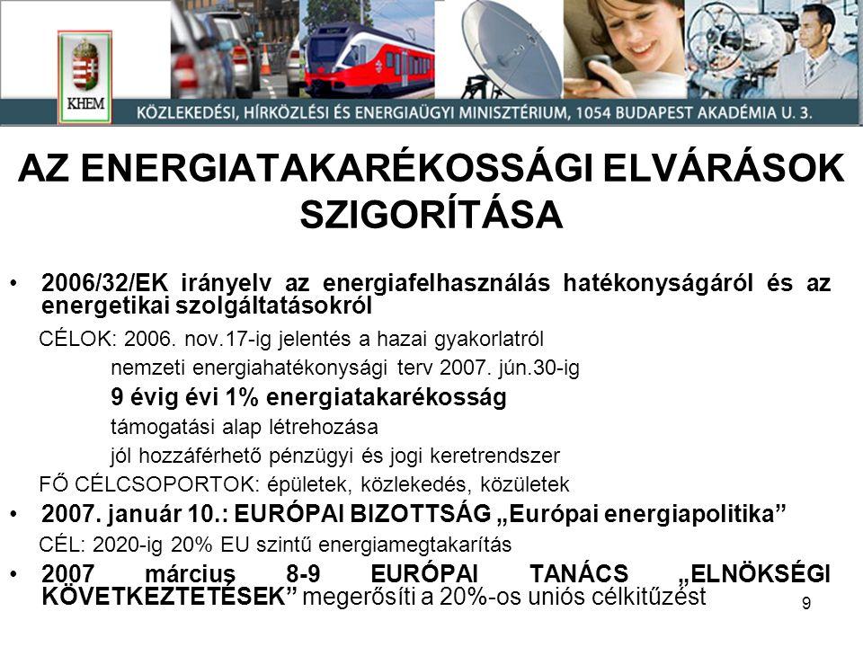 10 A MEGÚJULÓ ENERGIAHORDOZÓ FELHASZNÁLÁSRA IRÁNYULÓ ELVÁRÁSOK SZIGORÍTÁSA /1 2001/77/EK irányelv: az EU-ban megújuló energiahordozóval előállított villamos energia jelenlegi 14%-os részarányát 2010-re 22,1%-ra növelni (erősen differenciált arányok szerint).