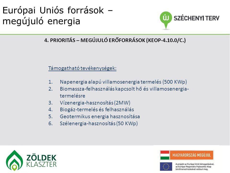 Európai Uniós források – megújuló energia 4. PRIORITÁS – MEGÚJULÓ ERŐFORRÁSOK (KEOP-4.10.0/C.) Támogatható tevékenységek: 1.Napenergia alapú villamose