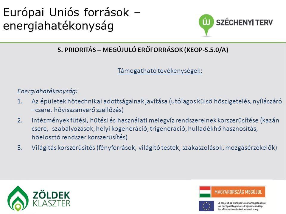 Európai Uniós források – energiahatékonyság 5. PRIORITÁS – MEGÚJULÓ ERŐFORRÁSOK (KEOP-5.5.0/A) Támogatható tevékenységek: Energiahatékonyság: 1.Az épü