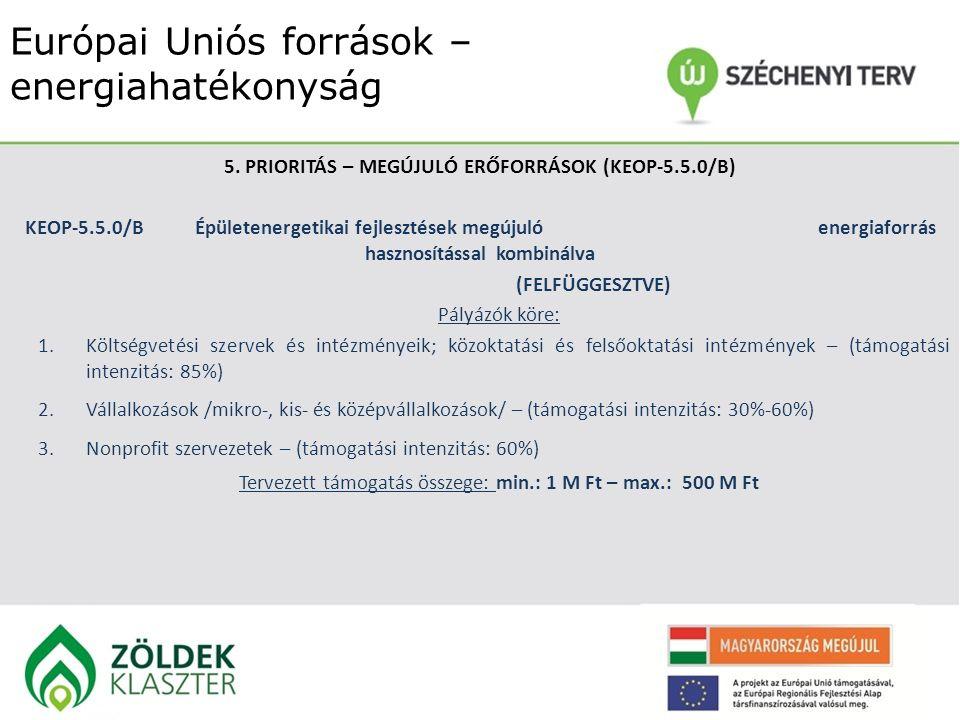 Európai Uniós források – energiahatékonyság 5. PRIORITÁS – MEGÚJULÓ ERŐFORRÁSOK (KEOP-5.5.0/B) KEOP-5.5.0/BÉpületenergetikai fejlesztések megújuló ene