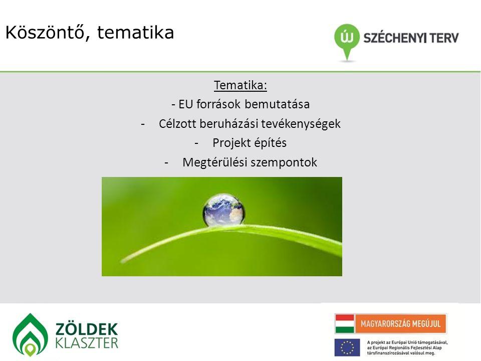 Köszöntő, tematika Tematika: - EU források bemutatása -Célzott beruházási tevékenységek -Projekt építés -Megtérülési szempontok
