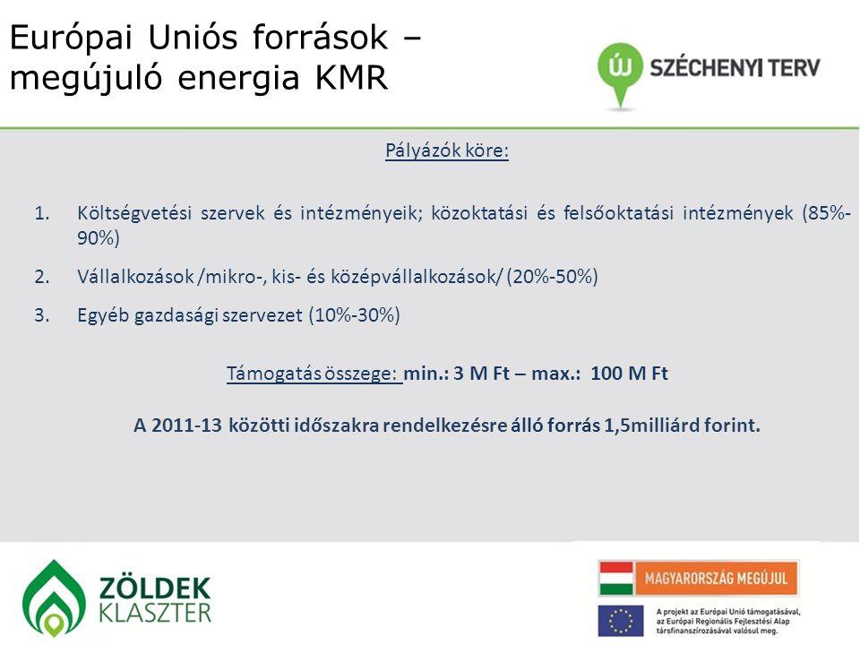 Európai Uniós források – megújuló energia KMR Pályázók köre: 1.Költségvetési szervek és intézményeik; közoktatási és felsőoktatási intézmények (85%- 9