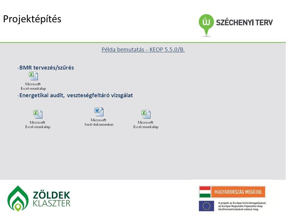 Projektépítés Példa bemutatás - KEOP 5.5.0/B. -BMR tervezés/szűrés -Energetikai audit, veszteségfeltáró vizsgálat