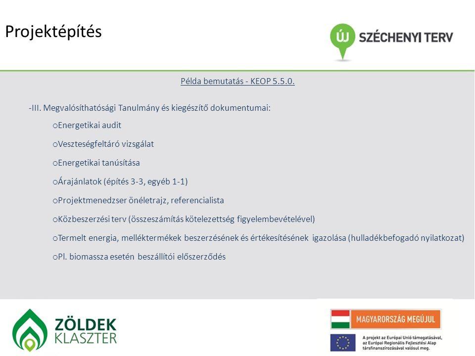 Projektépítés Példa bemutatás - KEOP 5.5.0. -III. Megvalósíthatósági Tanulmány és kiegészítő dokumentumai: o Energetikai audit o Veszteségfeltáró vizs
