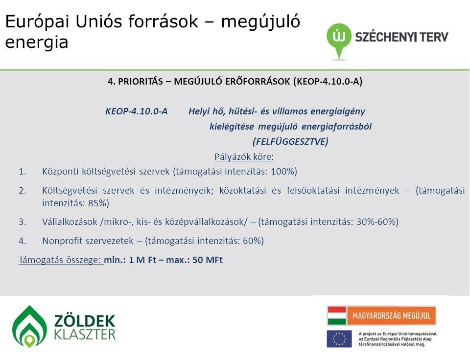 Európai Uniós források – megújuló energia 4. PRIORITÁS – MEGÚJULÓ ERŐFORRÁSOK (KEOP-4.10.0-A) KEOP-4.10.0-AHelyi hő, hűtési- és villamos energiaigény