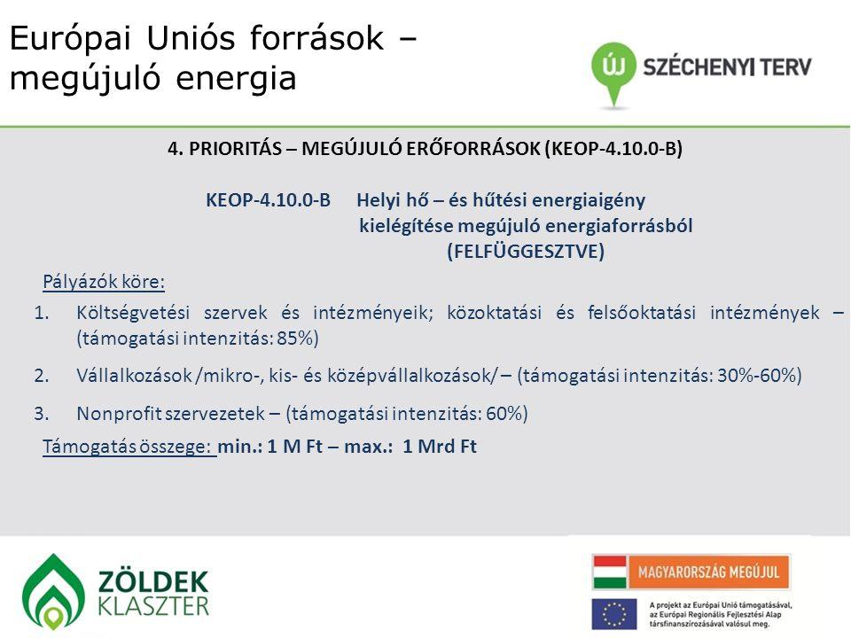 Európai Uniós források – megújuló energia 4. PRIORITÁS – MEGÚJULÓ ERŐFORRÁSOK (KEOP-4.10.0-B) KEOP-4.10.0-BHelyi hő – és hűtési energiaigény kielégíté