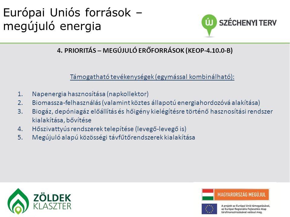 Európai Uniós források – megújuló energia 4. PRIORITÁS – MEGÚJULÓ ERŐFORRÁSOK (KEOP-4.10.0-B) Támogatható tevékenységek (egymással kombinálható): 1.Na