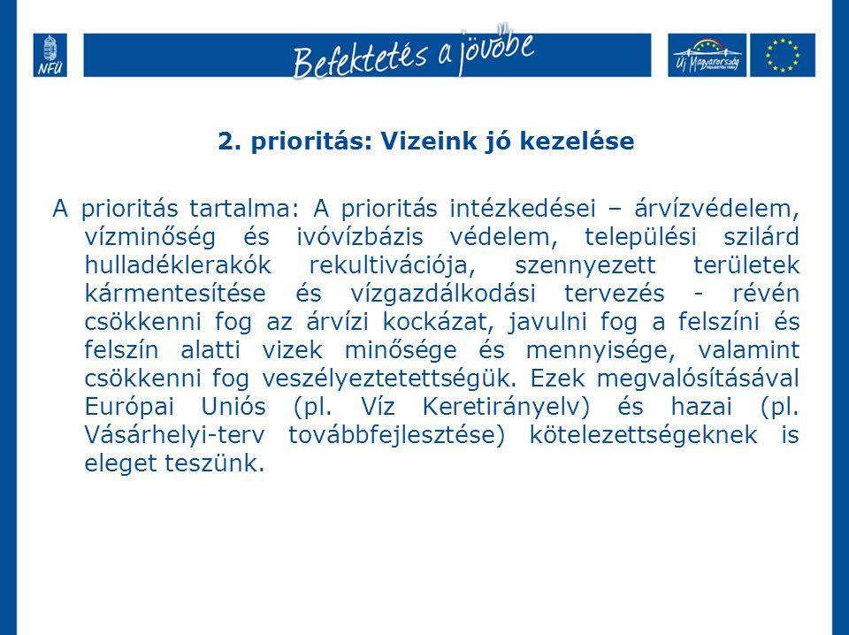 2. prioritás: Vizeink jó kezelése A prioritás tartalma: A prioritás intézkedései – árvízvédelem, vízminőség és ivóvízbázis védelem, települési szilárd