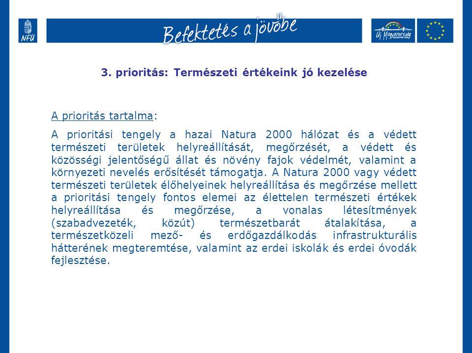 3. prioritás: Természeti értékeink jó kezelése A prioritás tartalma: A prioritási tengely a hazai Natura 2000 hálózat és a védett természeti területek