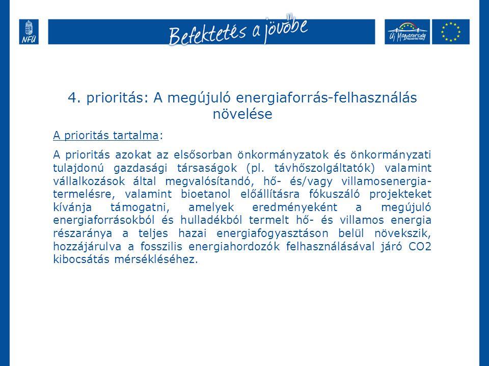 4. prioritás: A megújuló energiaforrás-felhasználás növelése A prioritás tartalma: A prioritás azokat az elsősorban önkormányzatok és önkormányzati tu