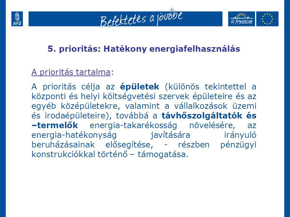 5. prioritás: Hatékony energiafelhasználás A prioritás tartalma: A prioritás célja az épületek (különös tekintettel a központi és helyi költségvetési