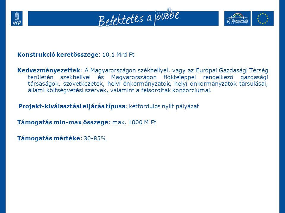 Konstrukció keretösszege: 10,1 Mrd Ft Kedvezményezettek: A Magyarországon székhellyel, vagy az Európai Gazdasági Térség területén székhellyel és Magyarországon fiókteleppel rendelkező gazdasági társaságok, szövetkezetek, helyi önkormányzatok, helyi önkormányzatok társulásai, állami költségvetési szervek, valamint a felsoroltak konzorciumai.