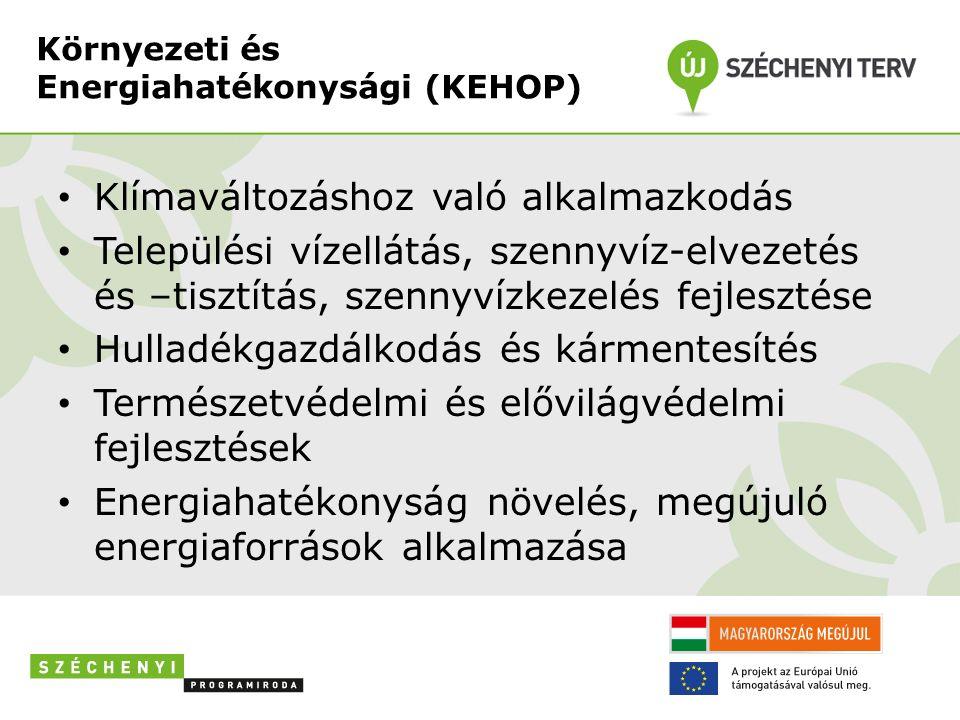 Környezeti és Energiahatékonysági (KEHOP) Klímaváltozáshoz való alkalmazkodás Települési vízellátás, szennyvíz-elvezetés és –tisztítás, szennyvízkezelés fejlesztése Hulladékgazdálkodás és kármentesítés Természetvédelmi és elővilágvédelmi fejlesztések Energiahatékonyság növelés, megújuló energiaforrások alkalmazása