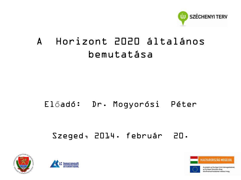 A Horizont 2020 általános bemutatása Előadó: Dr. Mogyorósi Péter Szeged, 2014. február 20.
