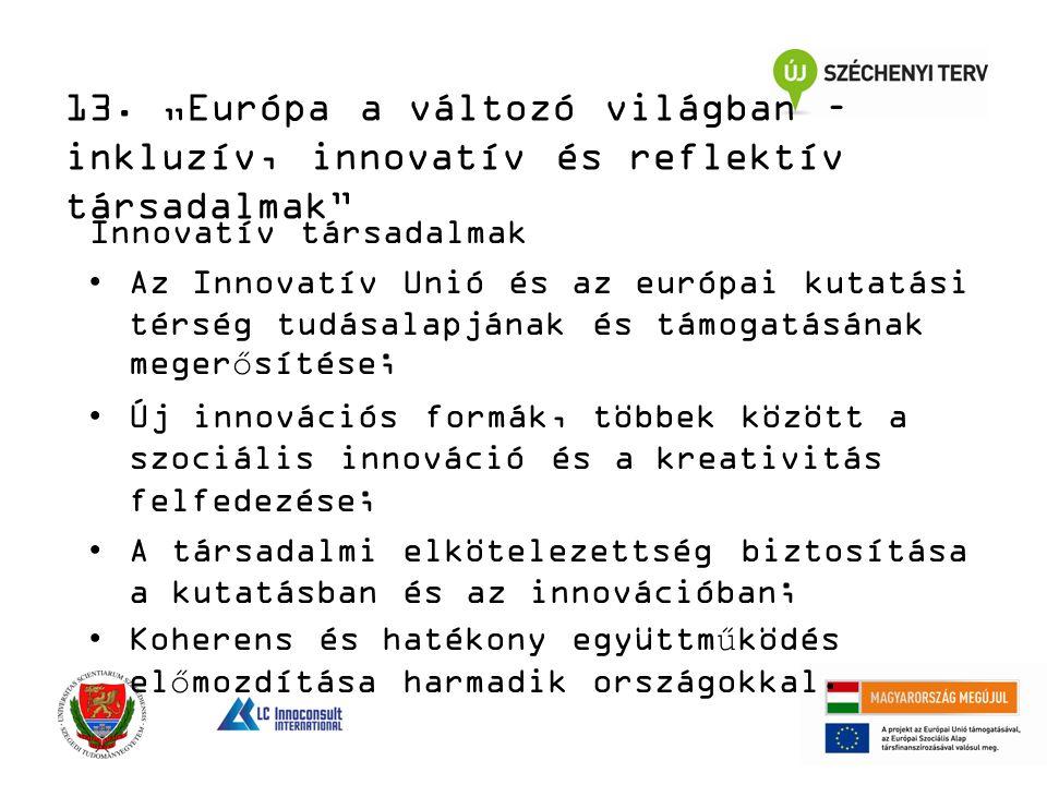 Innovatív társadalmak Az Innovatív Unió és az európai kutatási térség tudásalapjának és támogatásának megerősítése; Új innovációs formák, többek között a szociális innováció és a kreativitás felfedezése; A társadalmi elkötelezettség biztosítása a kutatásban és az innovációban; Koherens és hatékony együttműködés előmozdítása harmadik országokkal.