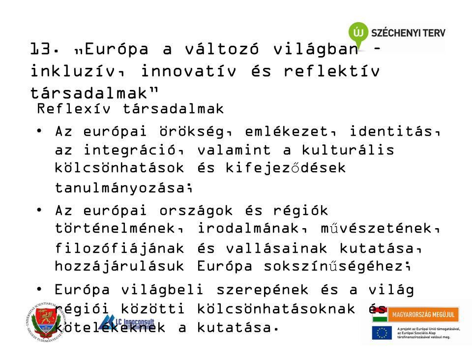 Reflexív társadalmak Az európai örökség, emlékezet, identitás, az integráció, valamint a kulturális kölcsönhatások és kifejeződések tanulmányozása; Az európai országok és régiók történelmének, irodalmának, művészetének, filozófiájának és vallásainak kutatása, hozzájárulásuk Európa sokszínűségéhez; Európa világbeli szerepének és a világ régiói közötti kölcsönhatásoknak és kötelékeknek a kutatása.