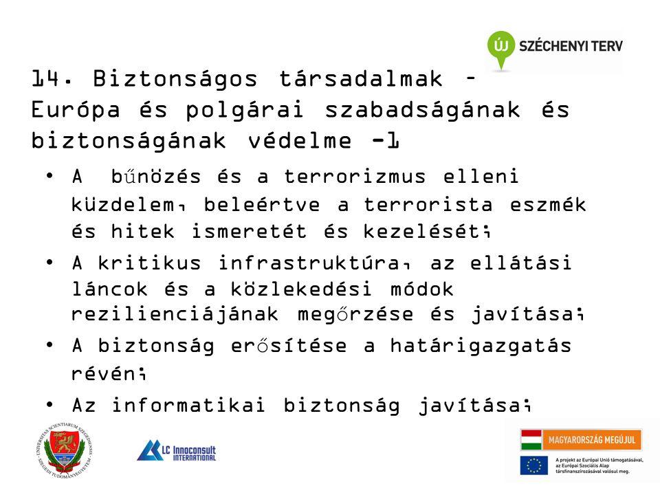 14. Biztonságos társadalmak – Európa és polgárai szabadságának és biztonságának védelme -1 A bűnözés és a terrorizmus elleni küzdelem, beleértve a ter