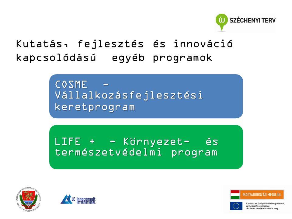 Kutatás, fejlesztés és innováció kapcsolódású egyéb programok COSME - Vállalkozásfejlesztési keretprogram LIFE + - Környezet- és természetvédelmi program