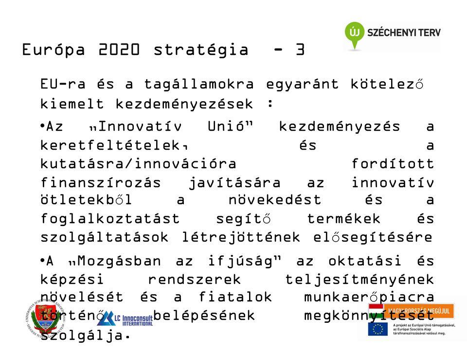 """EU-ra és a tagállamokra egyaránt kötelező kiemelt kezdeményezések : Az """"Innovatív Unió kezdeményezés a keretfeltételek, és a kutatásra/innovációra fordított finanszírozás javítására az innovatív ötletekből a növekedést és a foglalkoztatást segítő termékek és szolgáltatások létrejöttének elősegítésére A """"Mozgásban az ifjúság az oktatási és képzési rendszerek teljesítményének növelését és a fiatalok munkaerőpiacra történő belépésének megkönnyítését szolgálja."""