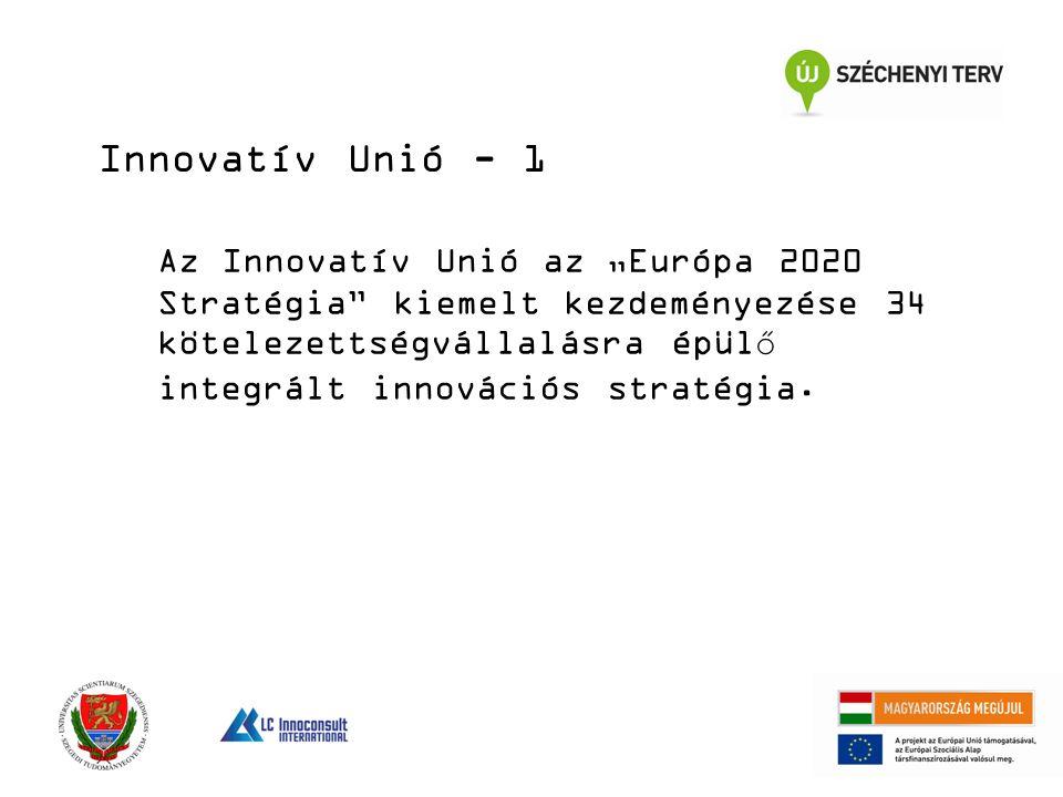 """Az Innovatív Unió az """"Európa 2020 Stratégia kiemelt kezdeményezése 34 kötelezettségvállalásra épülő integrált innovációs stratégia."""