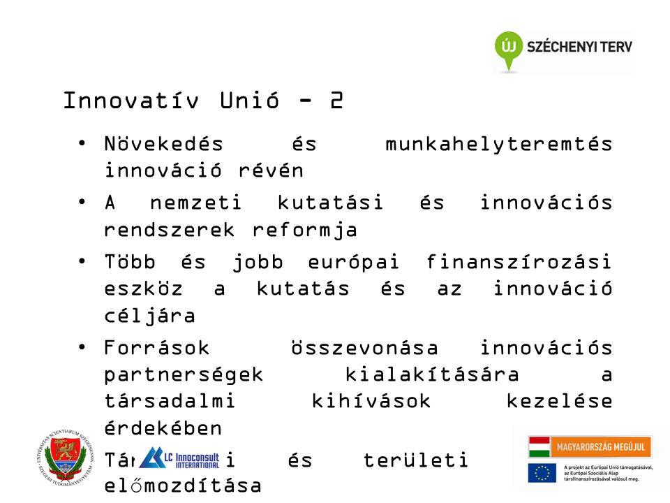 Növekedés és munkahelyteremtés innováció révén A nemzeti kutatási és innovációs rendszerek reformja Több és jobb európai finanszírozási eszköz a kutatás és az innováció céljára Források összevonása innovációs partnerségek kialakítására a társadalmi kihívások kezelése érdekében Társadalmi és területi kohézió előmozdítása Innovatív Unió - 2