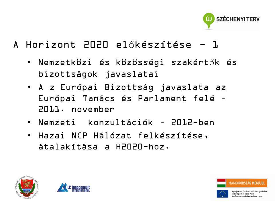 Nemzetközi és közösségi szakértők és bizottságok javaslatai A z Európai Bizottság javaslata az Európai Tanács és Parlament felé – 2011.