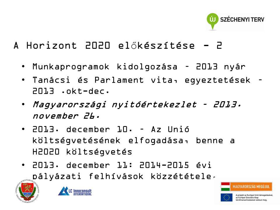A Horizont 2020 előkészítése - 2 Munkaprogramok kidolgozása – 2013 nyár Tanácsi és Parlament vita, egyeztetések – 2013.okt-dec.