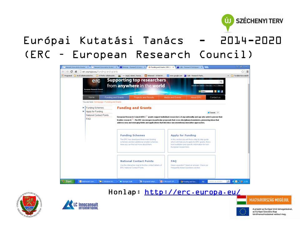 Európai Kutatási Tanács - 2014-2020 (ERC – European Research Council) Honlap: http://erc.europa.eu/http://erc.europa.eu/