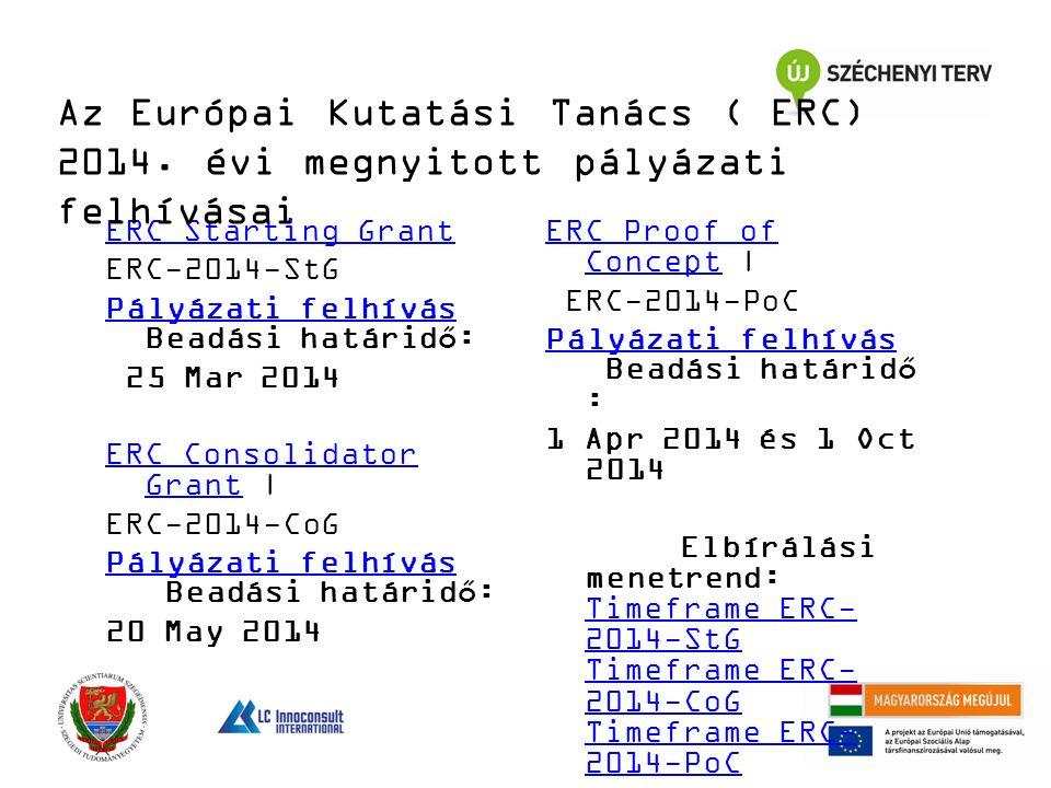 ERC Starting Grant ERC-2014-StG Pályázati felhívás Pályázati felhívás Beadási határidő: 25 Mar 2014 ERC Consolidator GrantERC Consolidator Grant | ERC-2014-CoG Pályázati felhívás Pályázati felhívás Beadási határidő: 20 May 2014 ERC Proof of ConceptERC Proof of Concept | ERC-2014-PoC Pályázati felhívás Pályázati felhívás Beadási határidő : 1 Apr 2014 és 1 Oct 2014 Elbírálási menetrend: Timeframe ERC- 2014-StG Timeframe ERC- 2014-CoG Timeframe ERC- 2014-PoC Timeframe ERC- 2014-StG Timeframe ERC- 2014-CoG Timeframe ERC- 2014-PoC Az Európai Kutatási Tanács ( ERC) 2014.