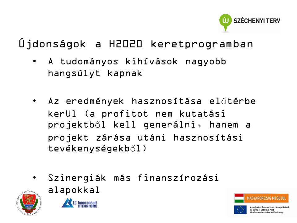 Újdonságok a H2020 keretprogramban A tudományos kihívások nagyobb hangsúlyt kapnak Az eredmények hasznosítása előtérbe kerül (a profitot nem kutatási projektből kell generálni, hanem a projekt zárása utáni hasznosítási tevékenységekből) Szinergiák más finanszírozási alapokkal