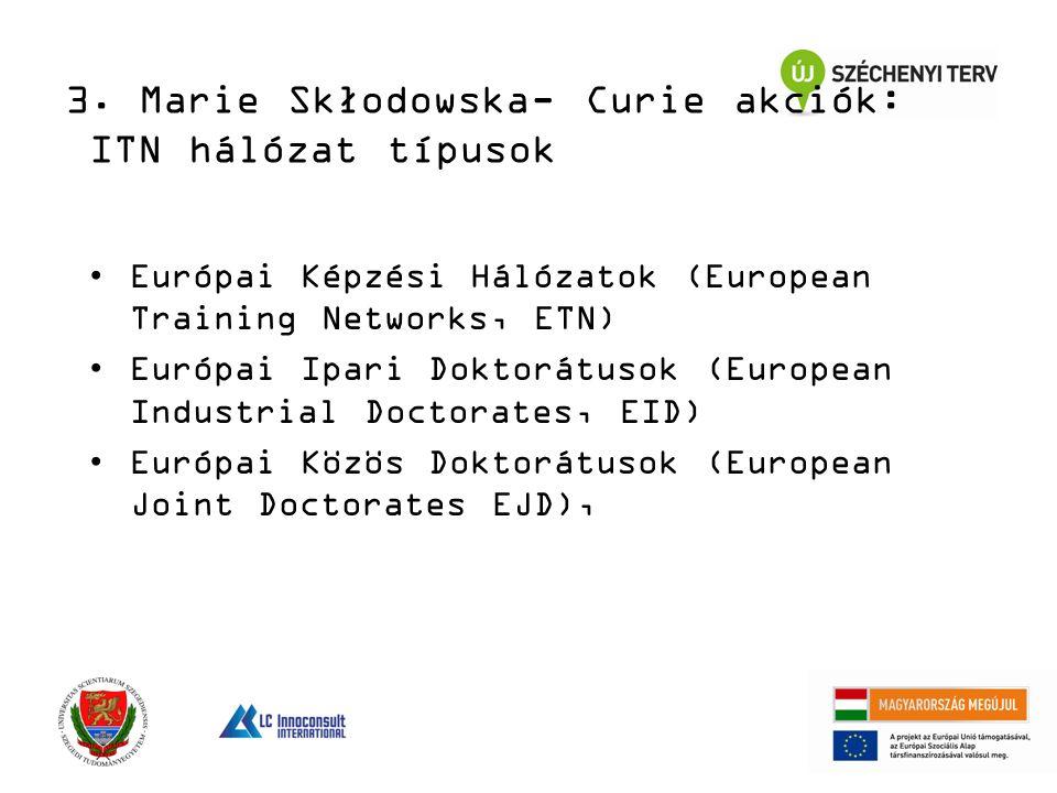 Európai Képzési Hálózatok (European Training Networks, ETN) Európai Ipari Doktorátusok (European Industrial Doctorates, EID) Európai Közös Doktorátusok (European Joint Doctorates EJD), 3.